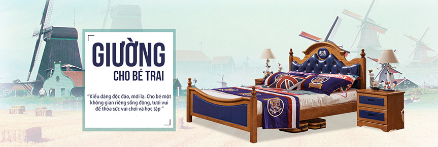 Vì sao nên mua sắm các bộ giường ngủ đơn cho bé trai tại Vương Quốc Nội Thất
