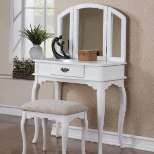 Bàn trang điểm hiện đại trắng thiết kế gương gập